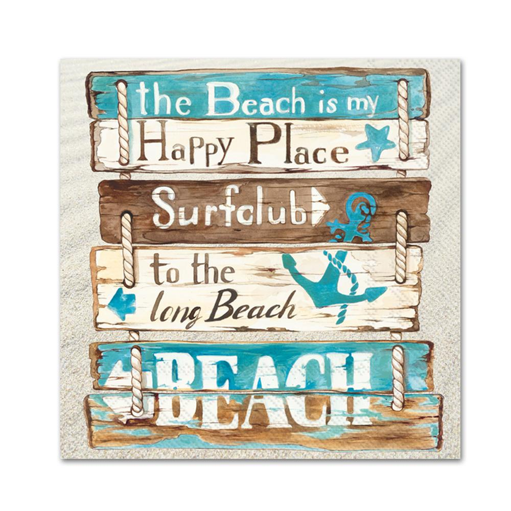 Happy Place at the Beach Paper Beverage Napkins
