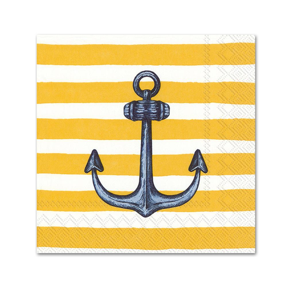 Sailors Anchor Yellow Paper Beverage Napkins