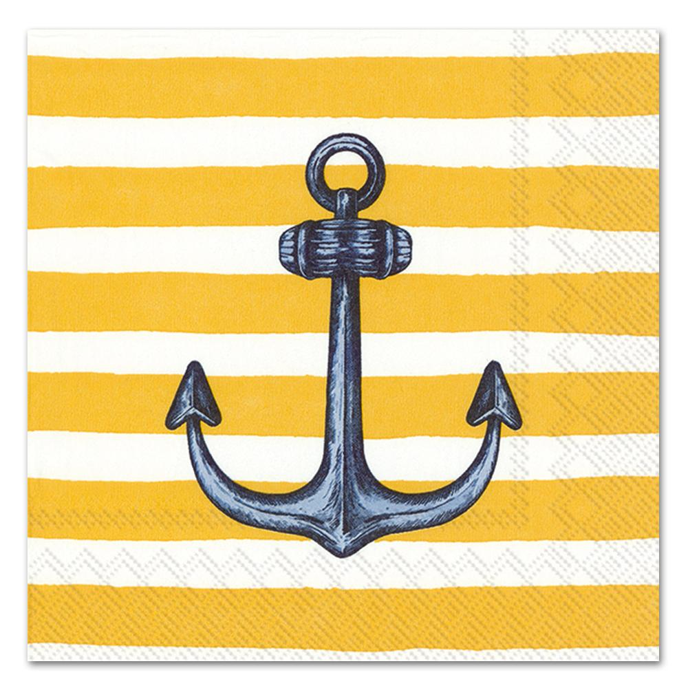 Sailors Anchor Yellow Paper Luncheon Napkins