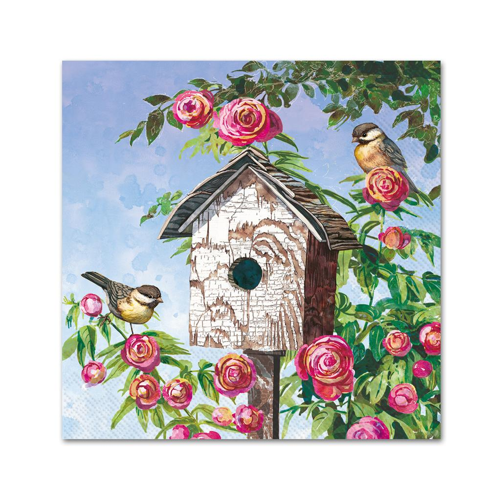 Lovely Birdhouse Paper Beverage Napkins
