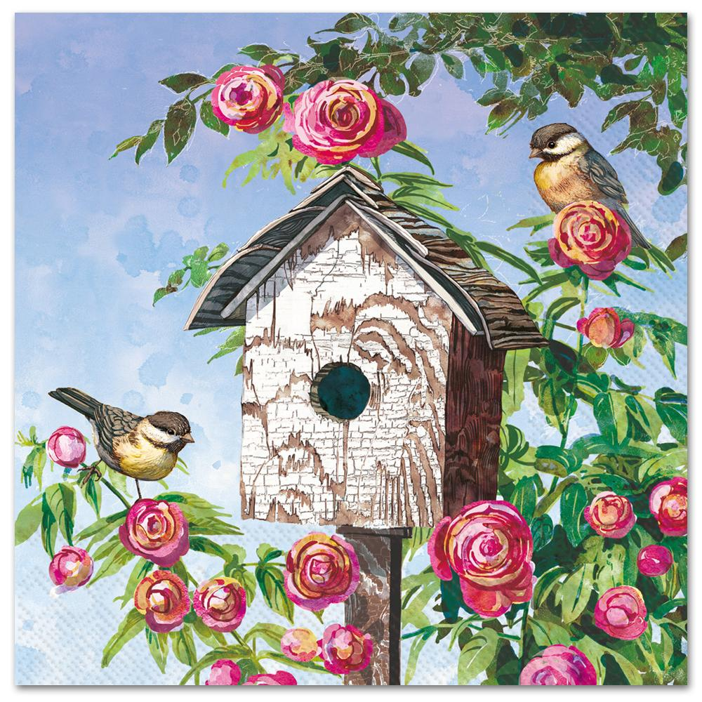 Lovely Birdhouse Paper Luncheon Napkins