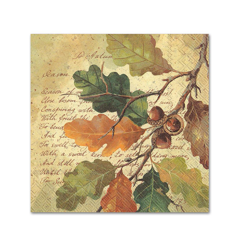 Oak at Autumn Paper Beverage Napkins