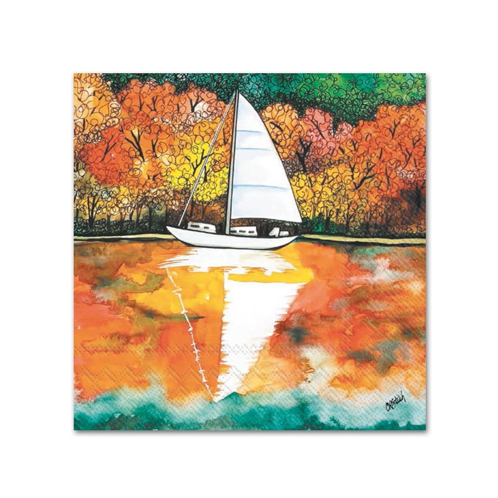 Autumn on the Lake Paper Beverage Napkins