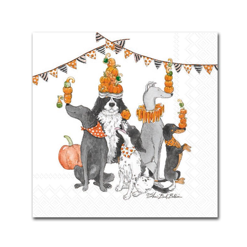 Juggling Dogs Halloween Party Beverage Napkins
