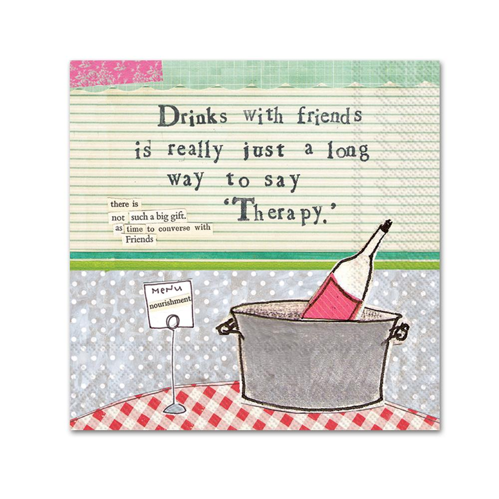 Wine Therapy Funny Cocktail Napkin by Curly Girl