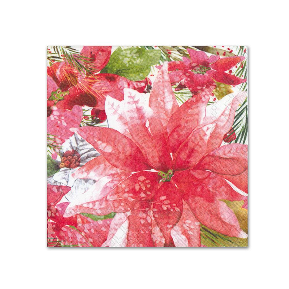 Amaryllis and Poinsettia Paper Beverage Napkins