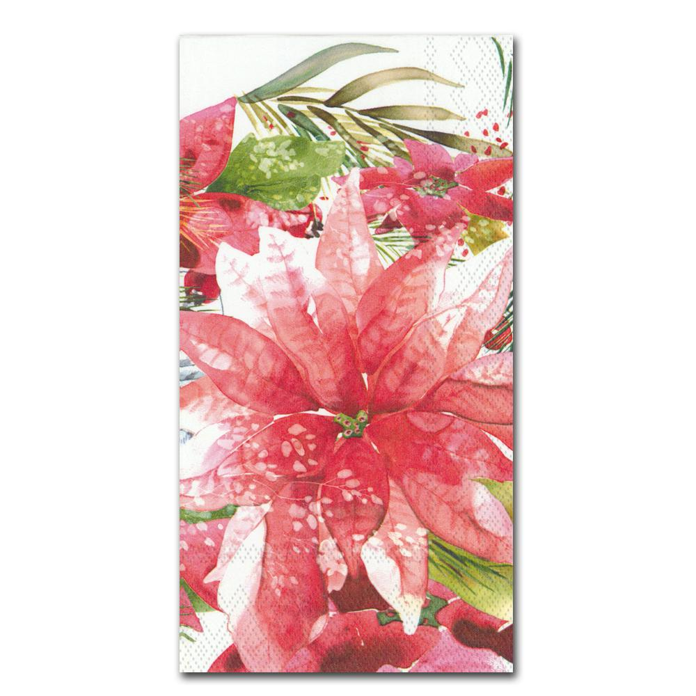 Amaryllis and Poinsettia Paper Guest Towels - Buffet Napkins