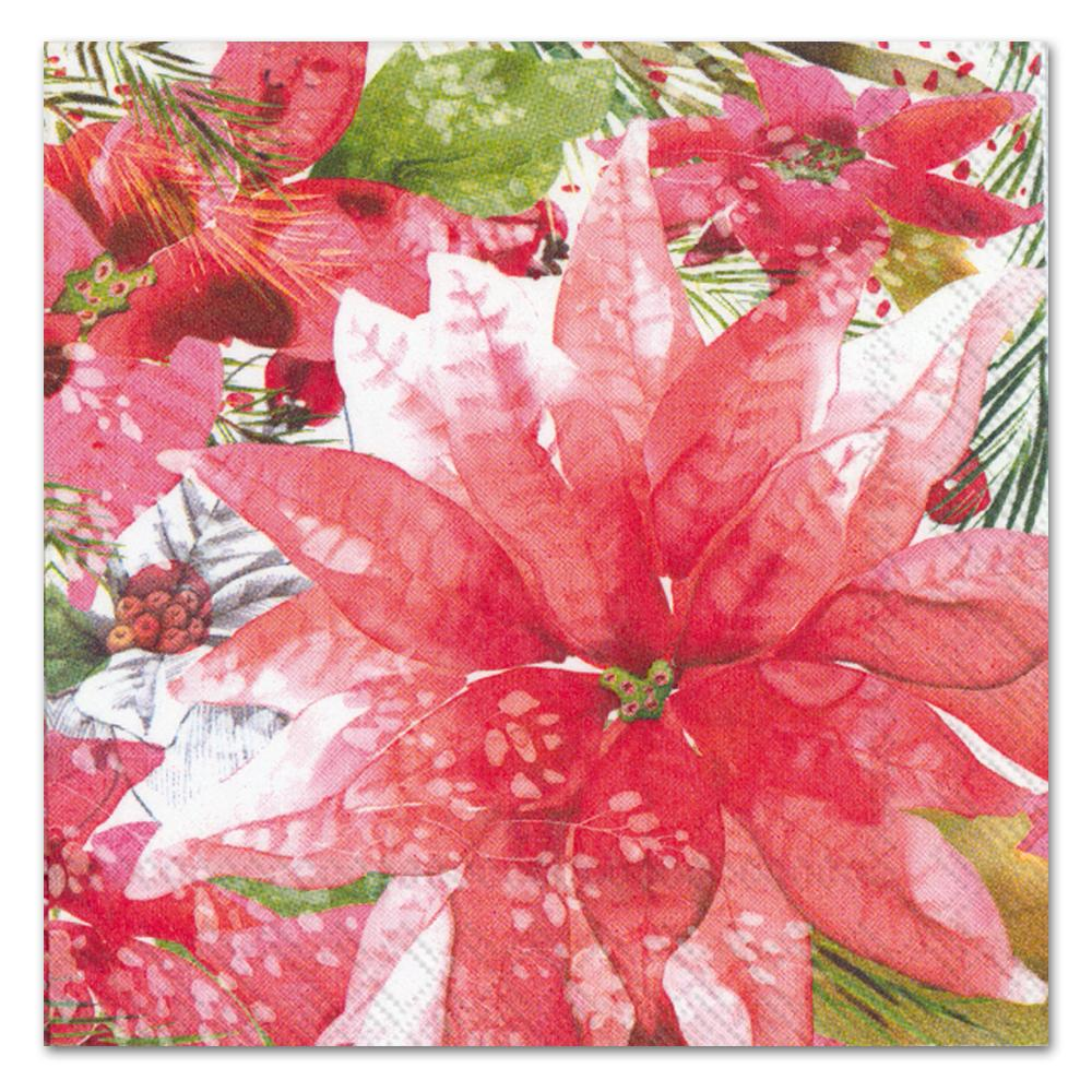 Amaryllis and Poinsettia Paper Luncheon Napkins