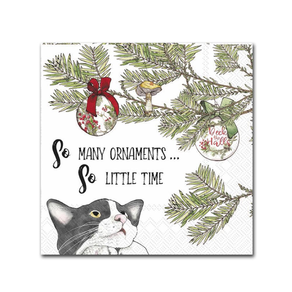 So Many Ornaments Funny Cat Beverage Napkins