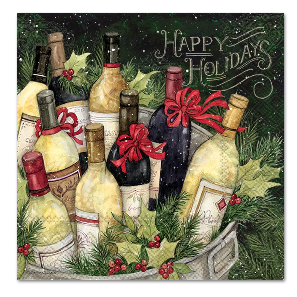Happy Holidays Wine Bucket Paper Luncheon Napkins