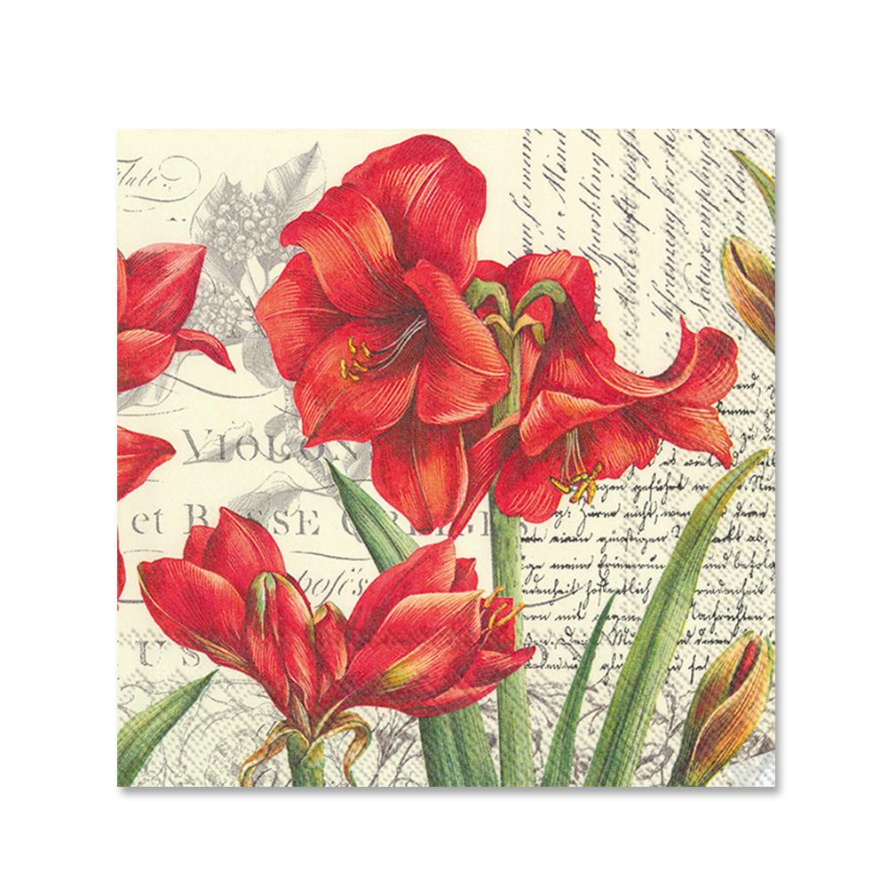 La Beaute Rouge Poinsettia Paper Beverage Napkins