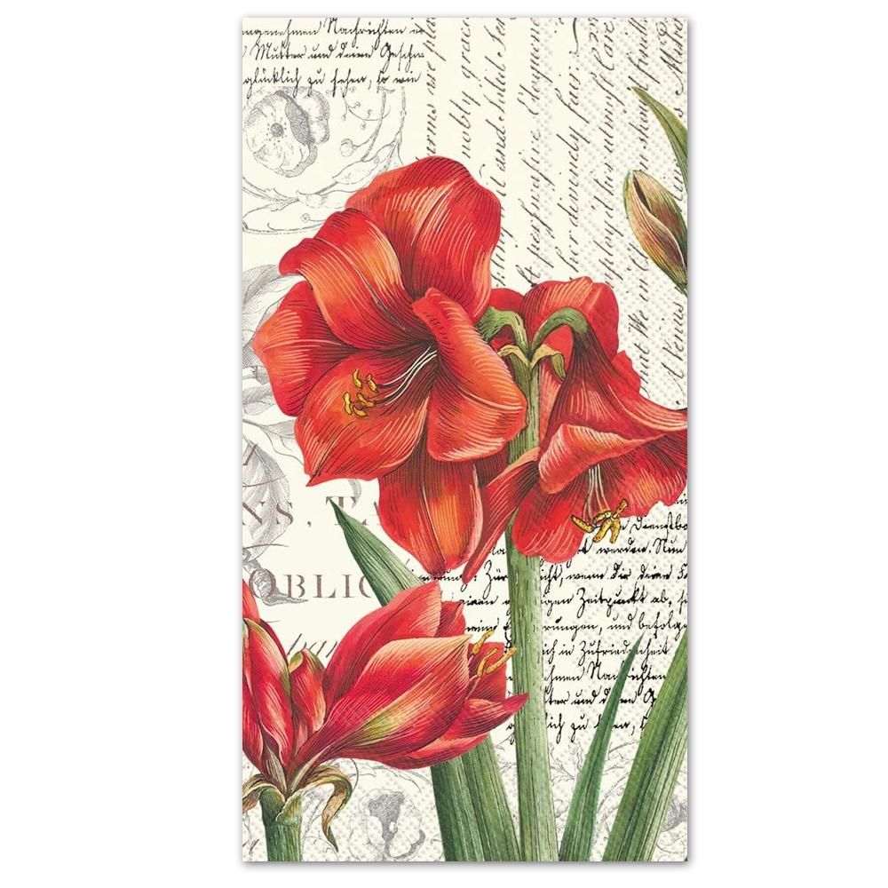 La Beaute Rouge Poinsettia Paper Guest Towels - Buffet Napkins