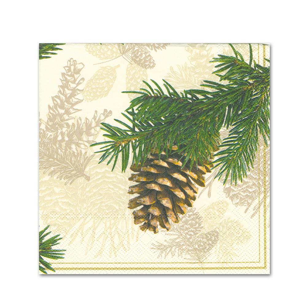 Fir Cone Cream Paper Beverage Napkins
