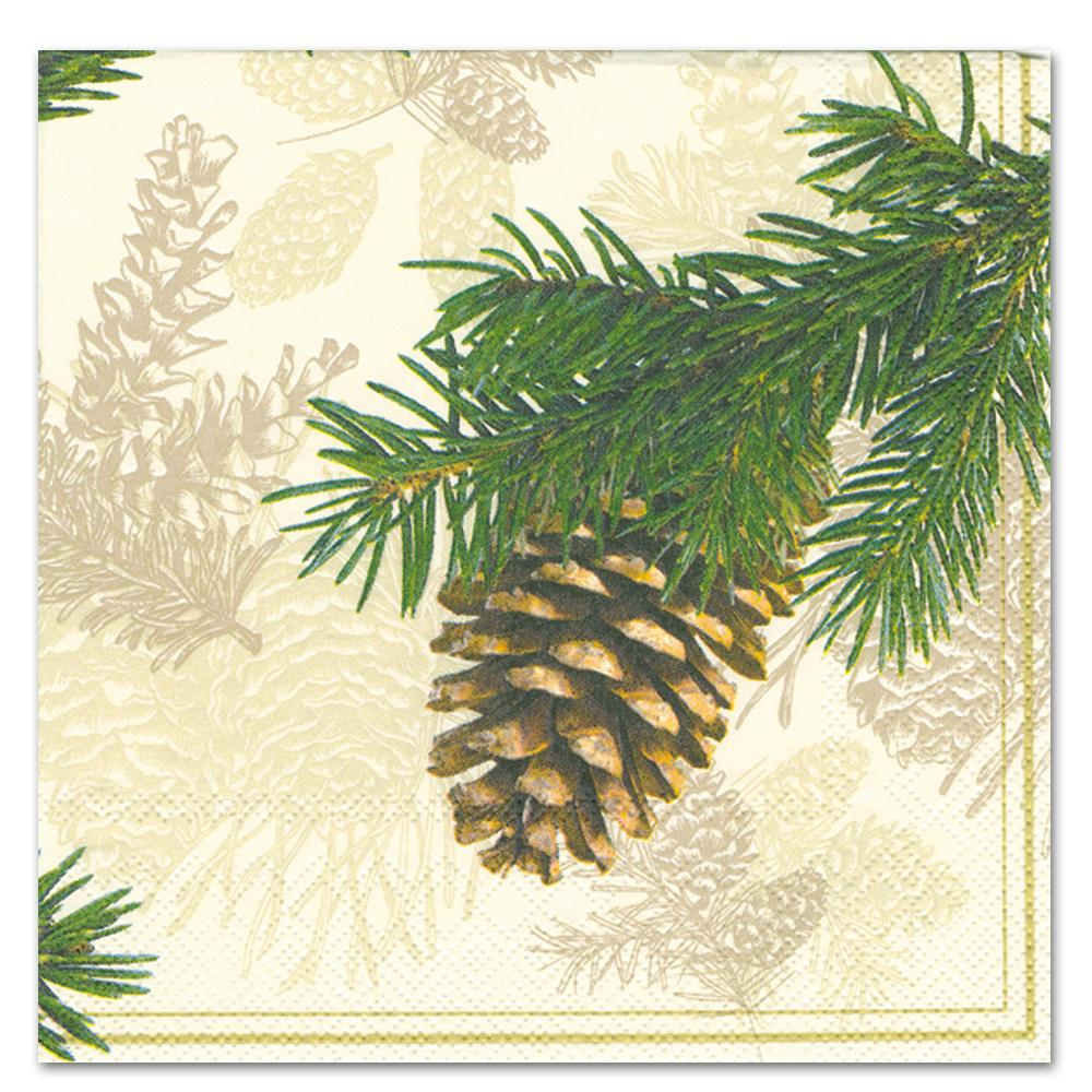 Fir Cone Cream Paper Luncheon Napkins