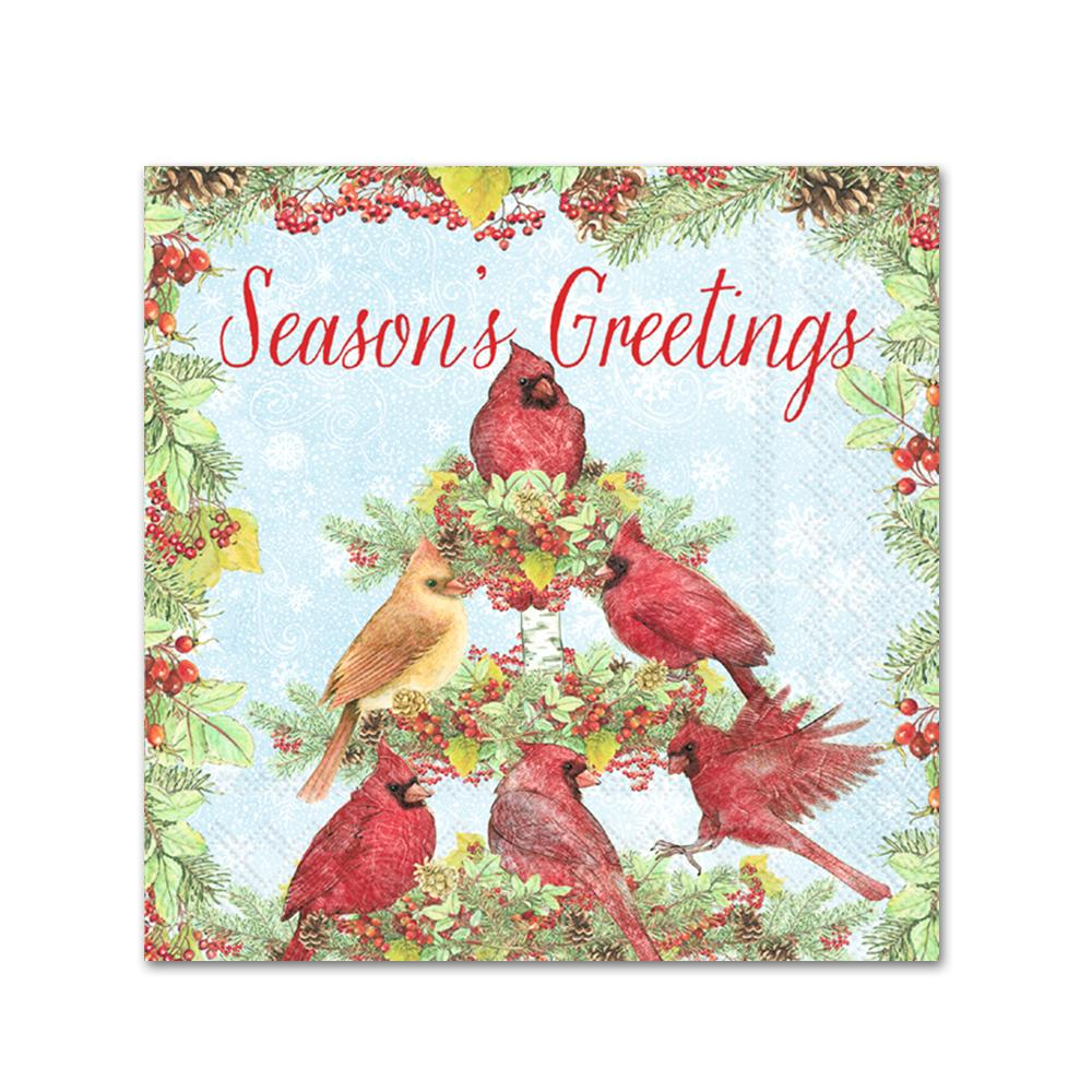 Cardinal Tree Season's Greeting Beverage Napkins