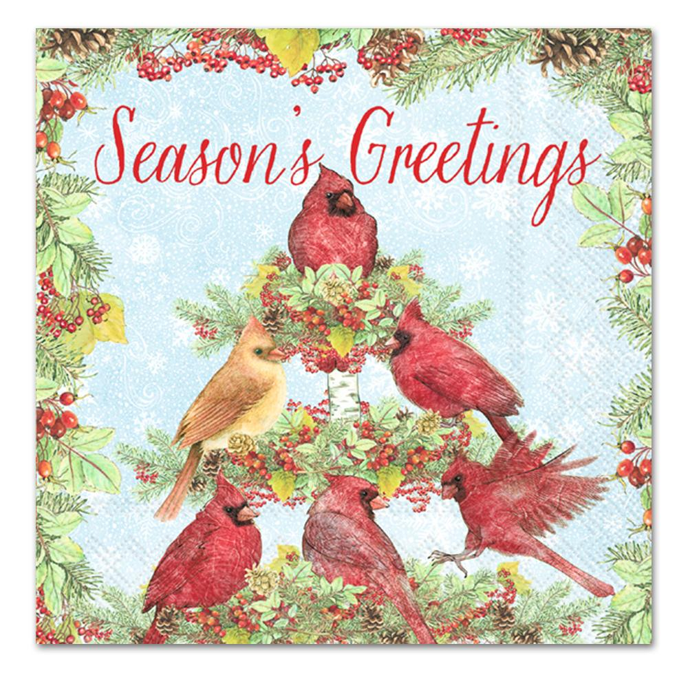 Cardinal Tree Season's Luncheon Beverage Napkins