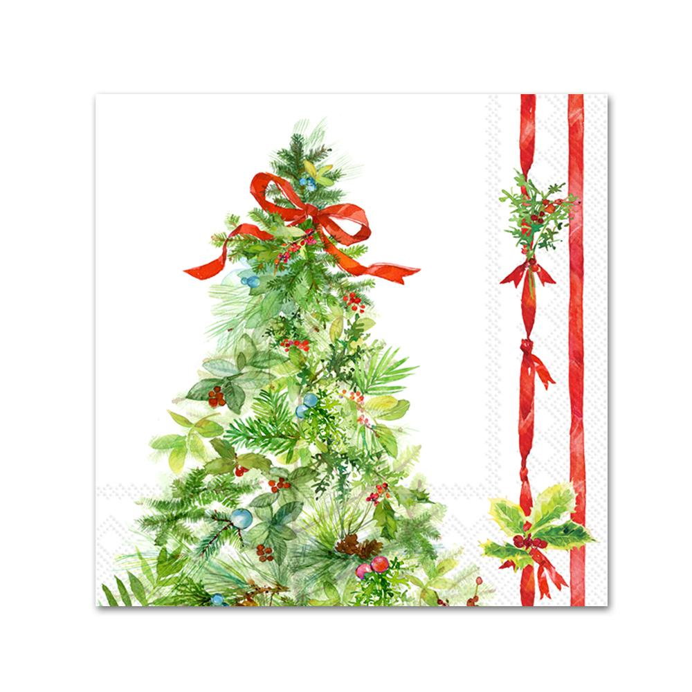 Peace Christmas Tree Paper Beverage Napkins