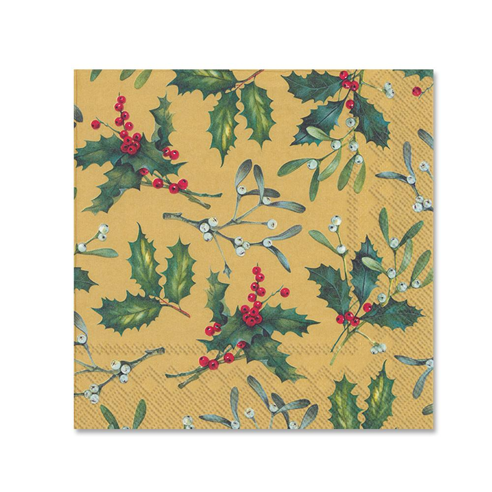 Holiday Holly Esther Gold Paper Beverage Napkins