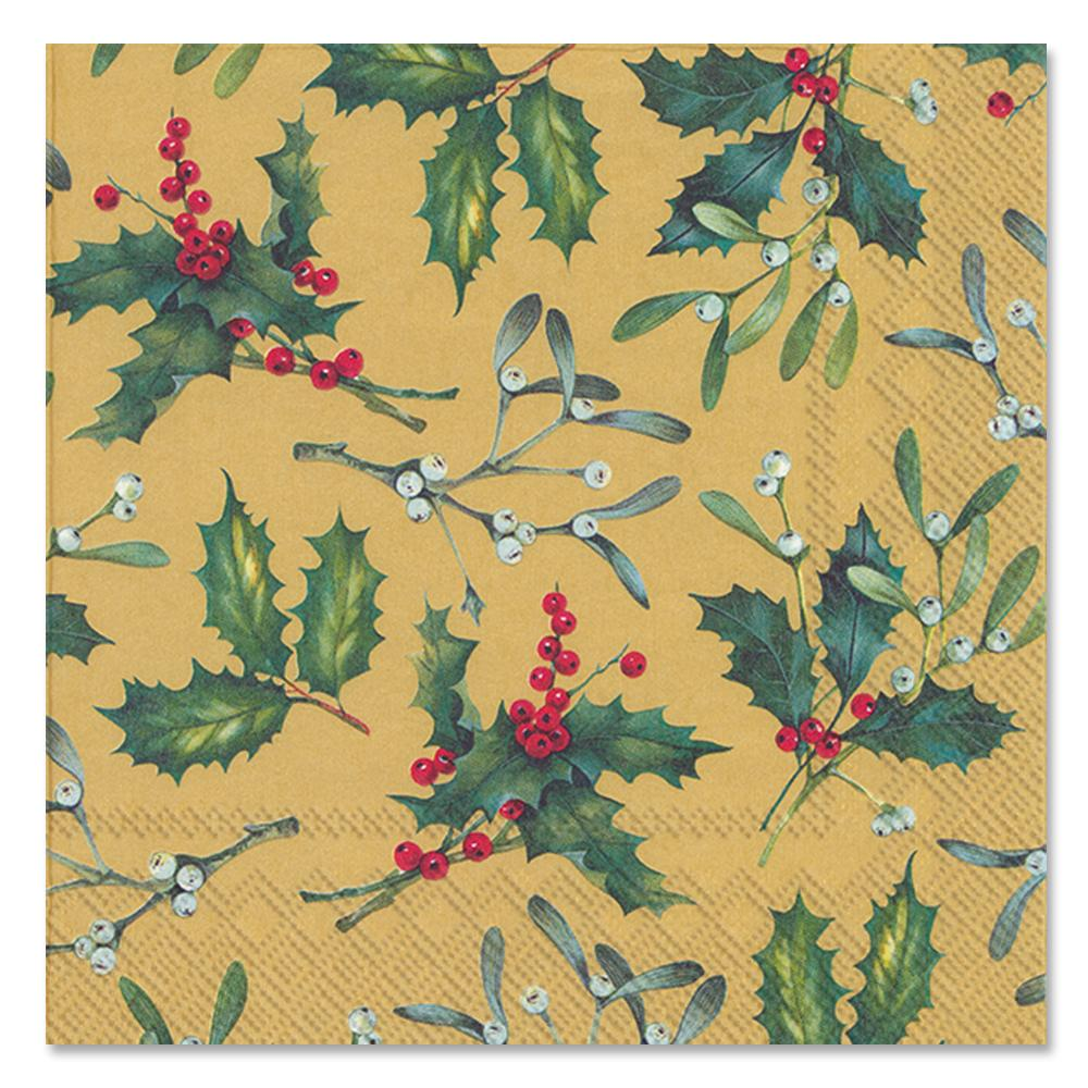 Holiday Holly Esther Gold Paper Luncheon Napkins