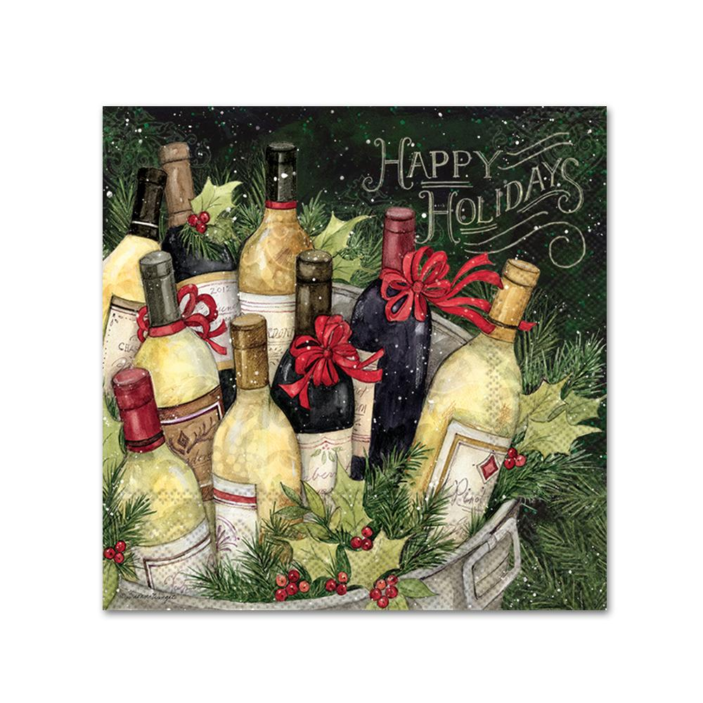 Happy Holidays Wine Bucket Paper Beverage Napkins