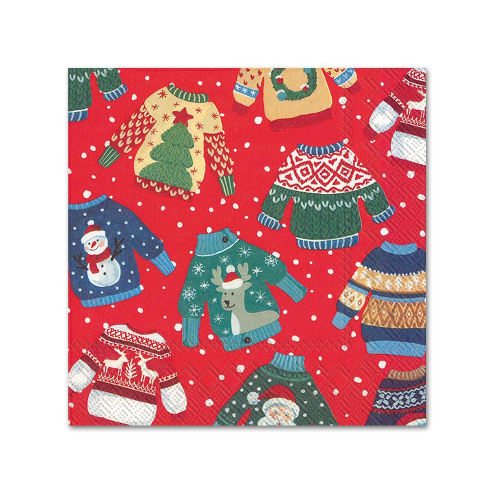 Ugly Christmas Sweaters Red Beverage Napkins