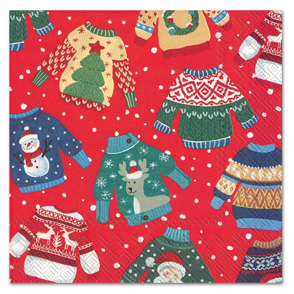 Ugly Christmas Sweaters Red Luncheon Napkins