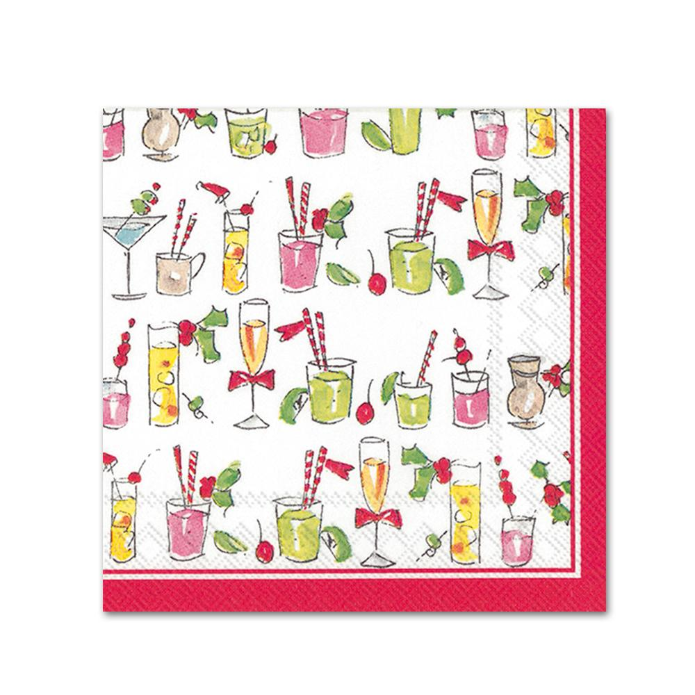 Holiday Cocktails Paper Beverage Napkins
