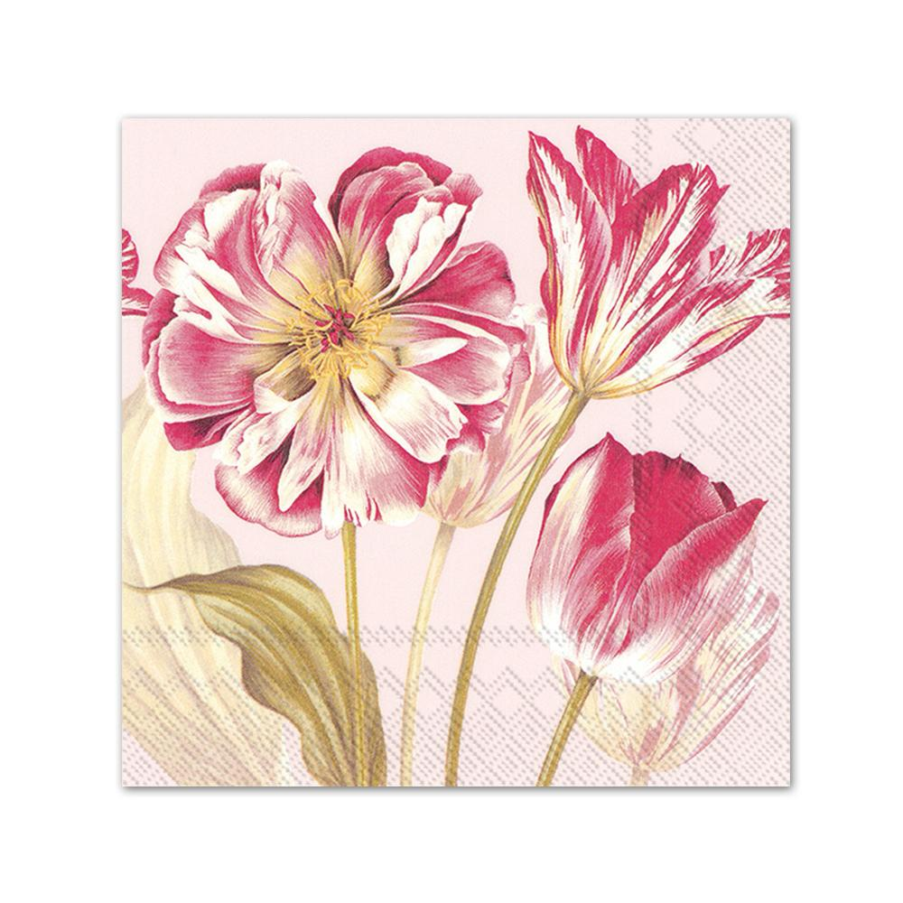 Majestic Tulips Rose Paper Beverage Napkins