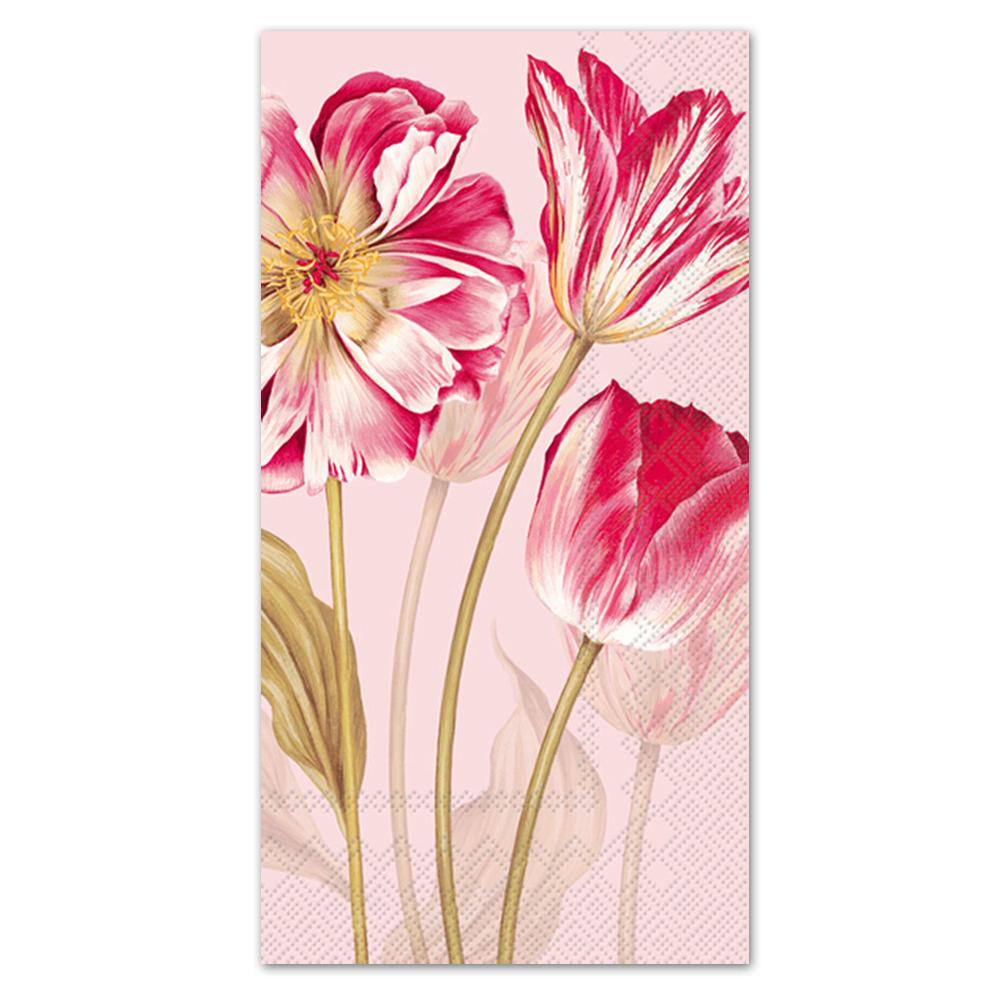 Majestic Tulips Rose Paper Guest Towels - Buffet Napkins
