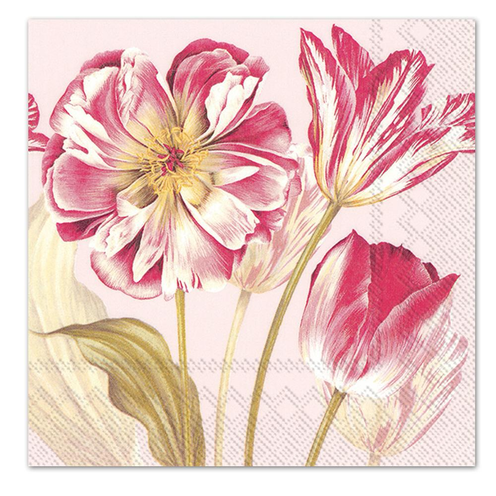 Majestic Tulips Rose Paper Lucnheon Napkins