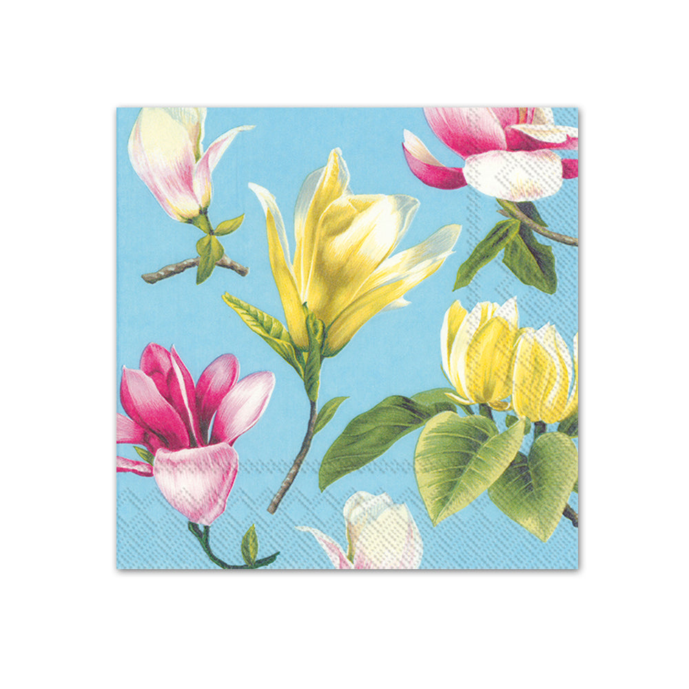 Malou Turquoise Floral Paper Beverage Napkins