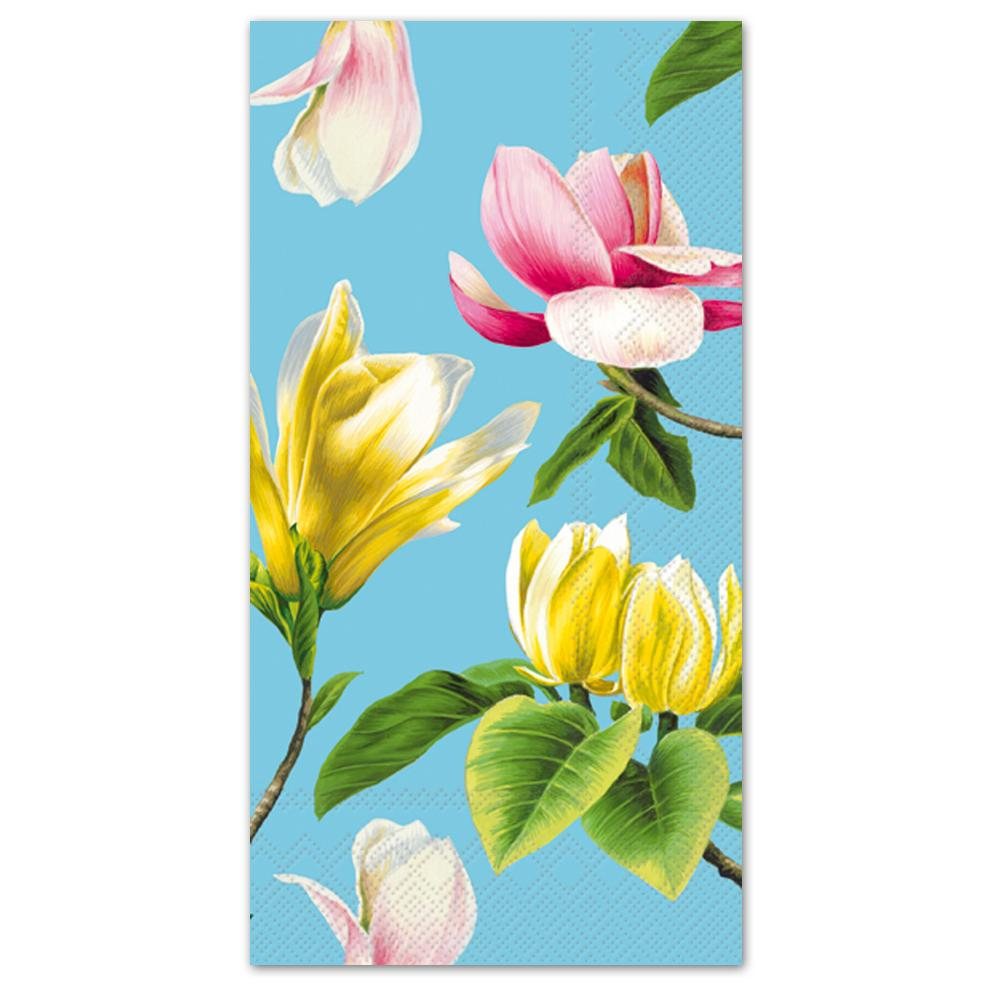 Malou Turquoise Floral Paper Guest Towels - Buffet Napkins