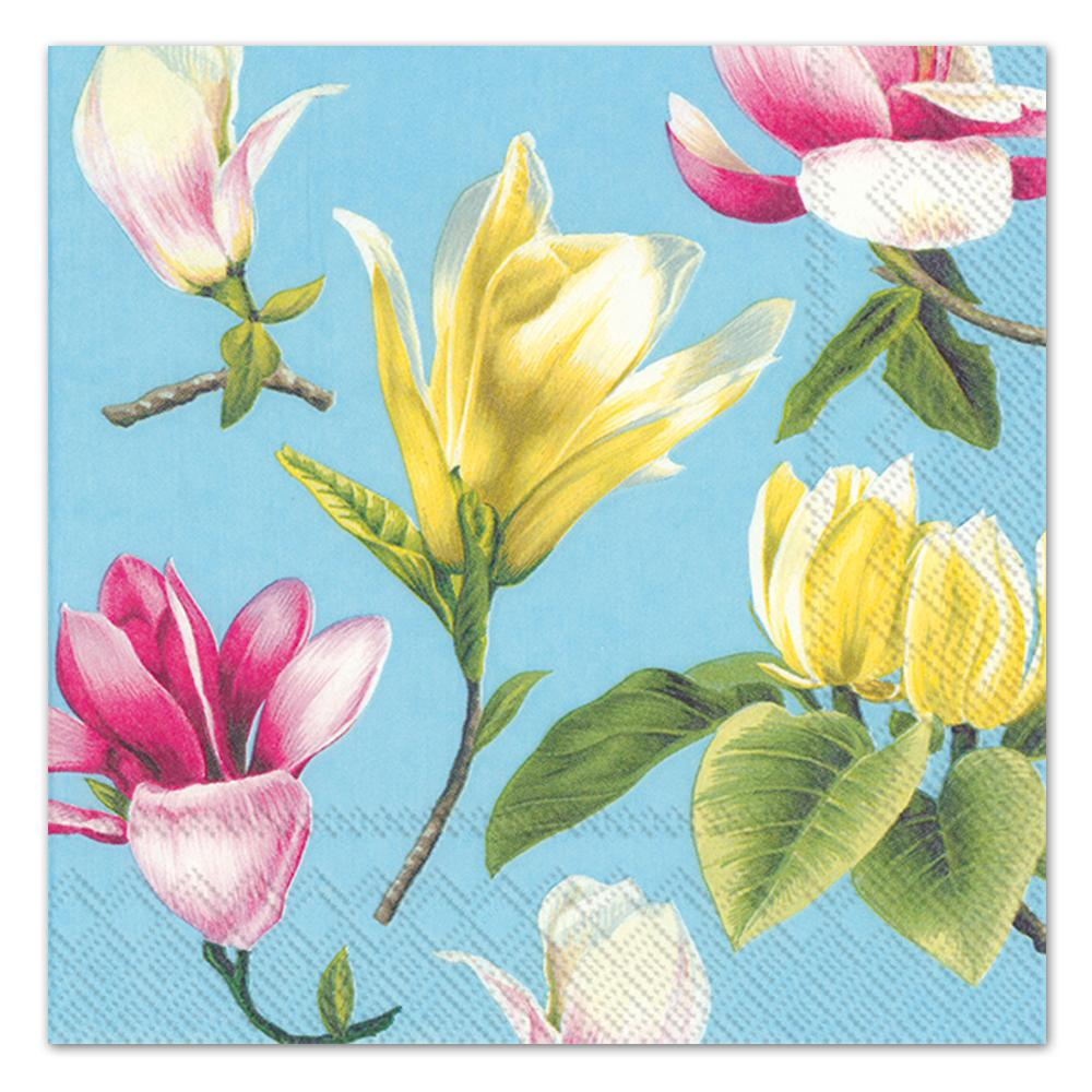 Malou Turquoise Floral Paper Luncheon Napkins