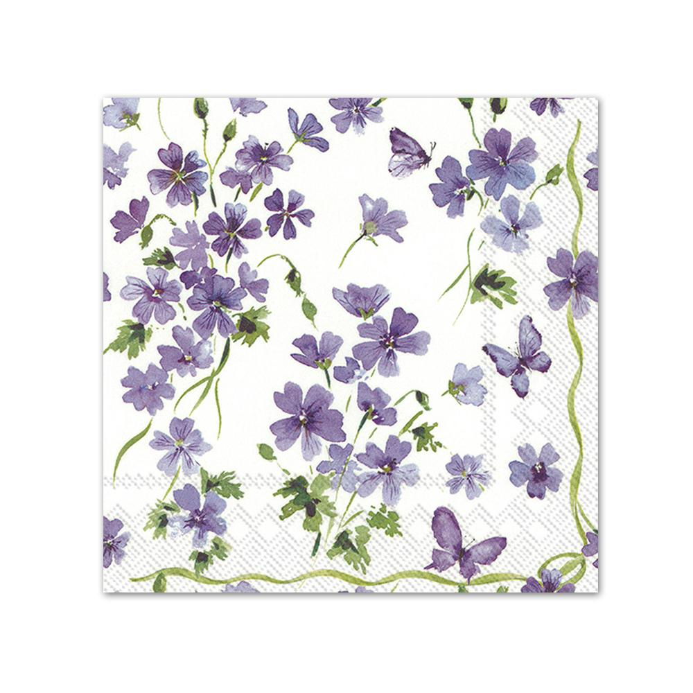 Purple Spring Flowers Paper Beverage Napkins