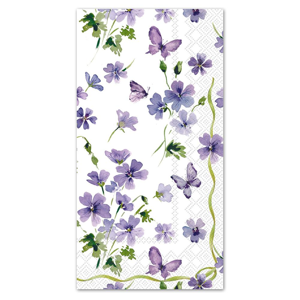 Purple Spring Flowers Paper Guest Towels - Buffet Napkins