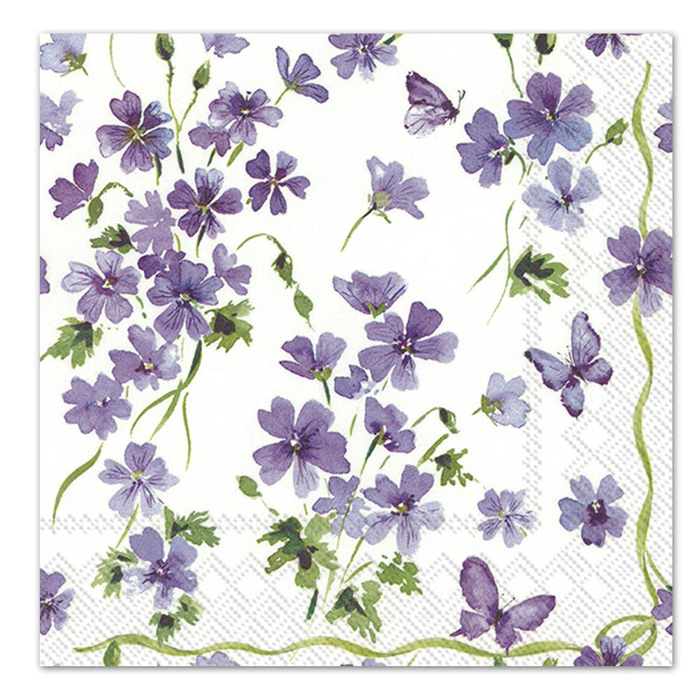 Purple Spring Flowers Paper Luncheon Napkins
