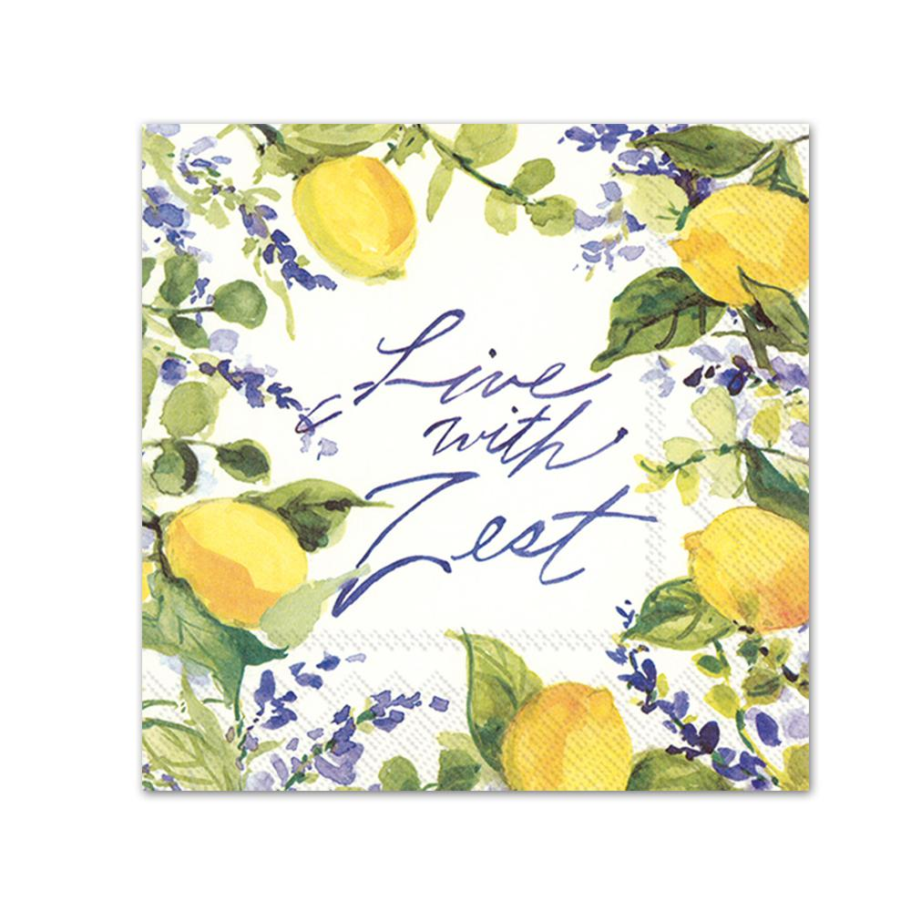 Lemons - Live with Zest Paper Beverage Napkins