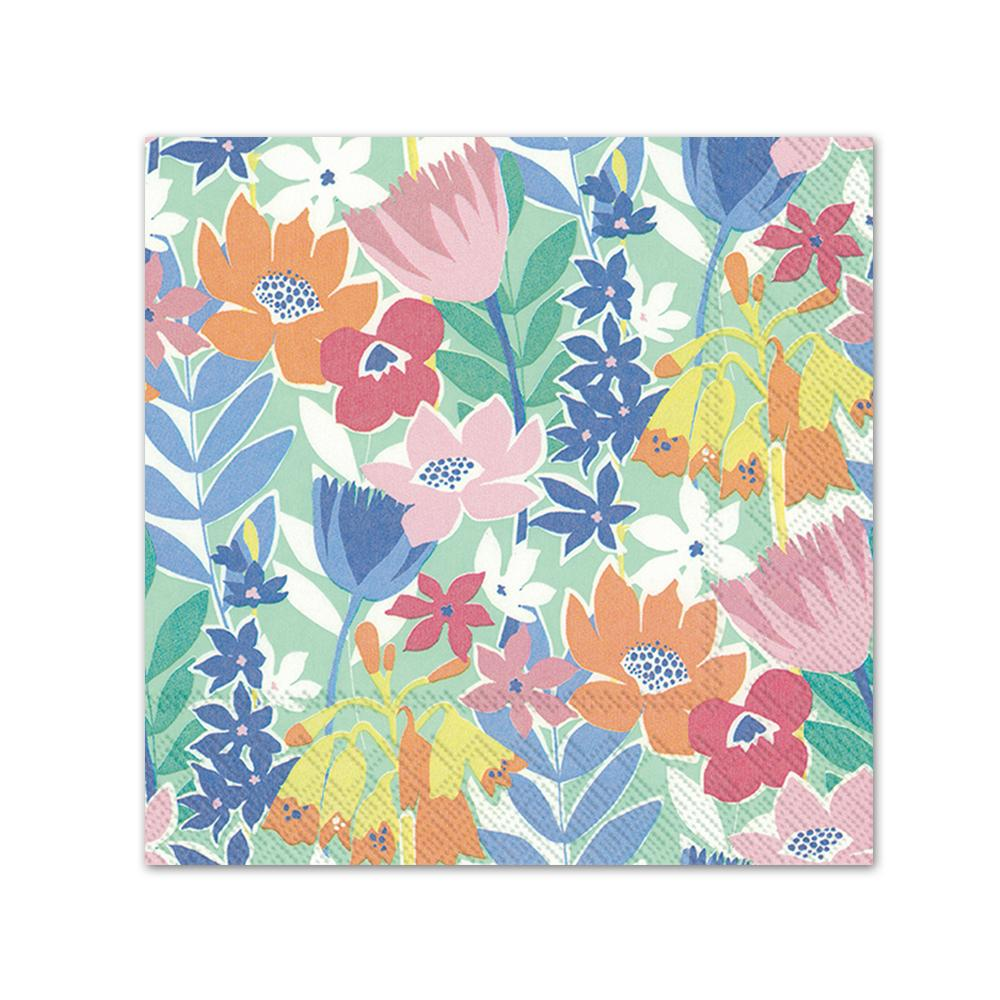 Flower Collage Paper Beverage Napkins