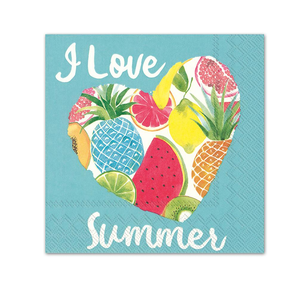 Fruity I Love Summer Paper Beverage Napkins