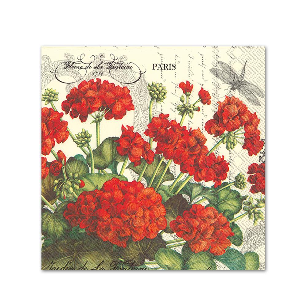 Geraniums Cream Paper Beverage Napkins