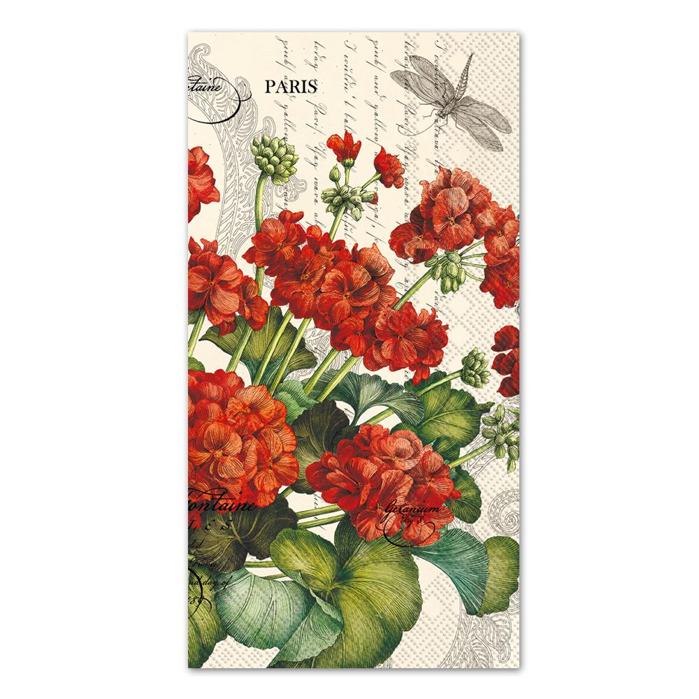 Geraniums Cream Paper Guest Towels - Buffet Napkins
