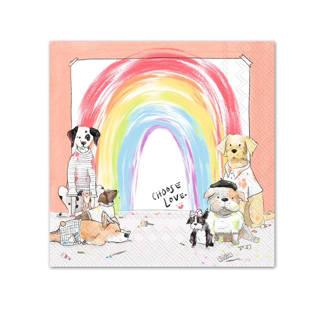 Rainbow Pups Paper Beverage Napkins