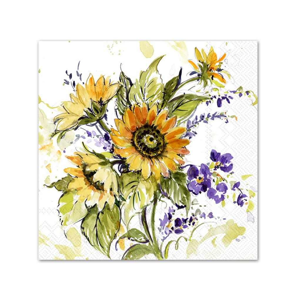 Sunflower Bunch Paper Beverage Napkins