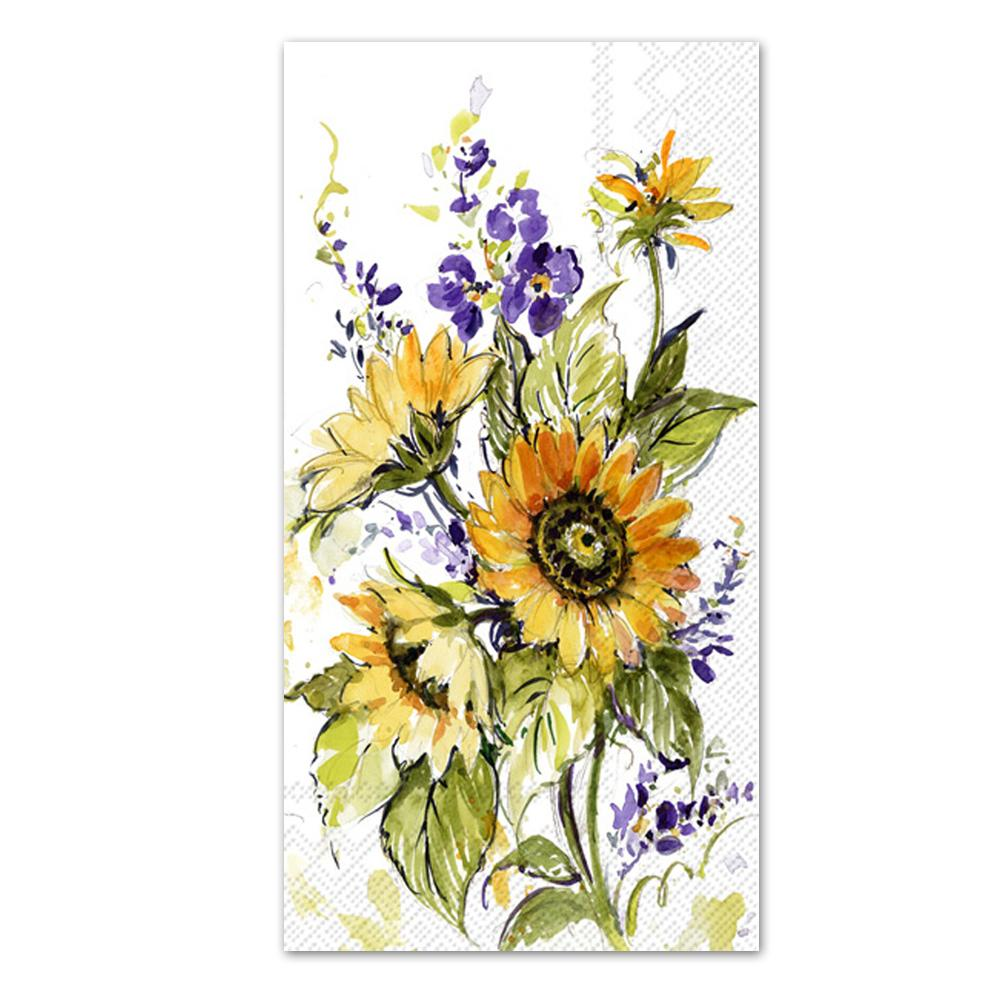 Sunflower Bunch Paper Guest Towels - Buffet Napkins