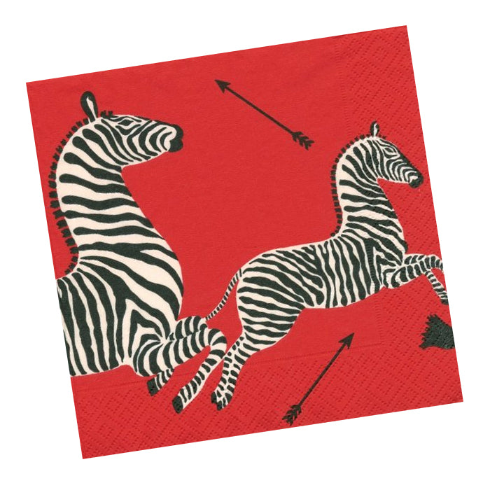 Zebras Red Paper Napkins - Beverage