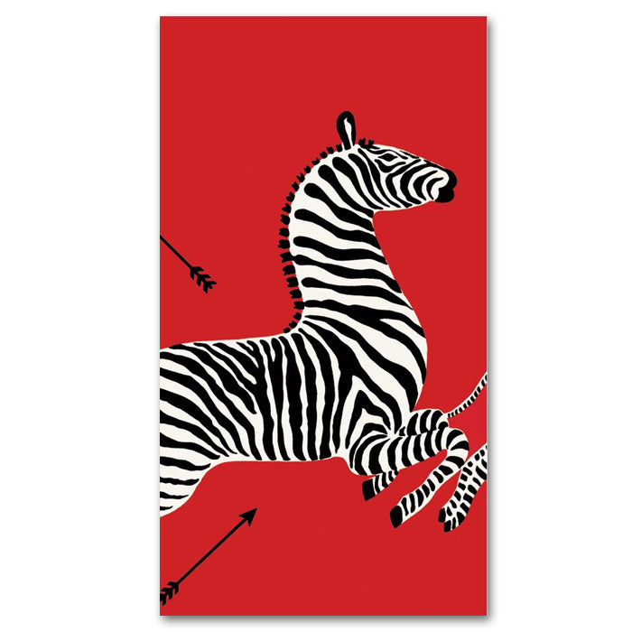 Zebras Red Paper Guest Towels - Buffet Napkins