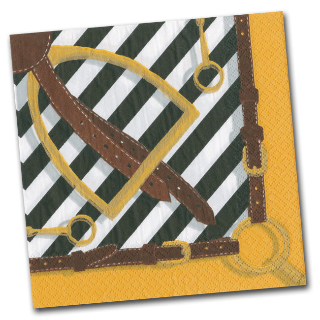 Stirrup and Silks Luncheon Napkins - Black