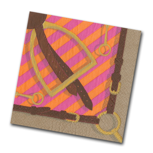 Stirrup and Silks Beverage Napkins - Fuchsia
