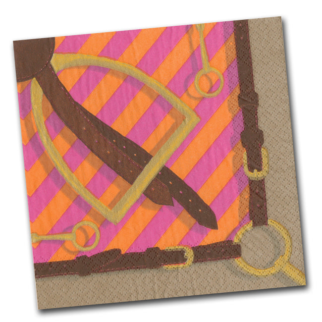 Stirrup and Silks Luncheon Napkins - Fuchsia