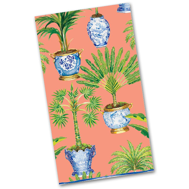 Potted Palms Coral Paper Guest Towels - Napkins